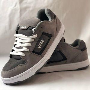Vans Docket Grey/Charcoal/White Skate Sneakers.